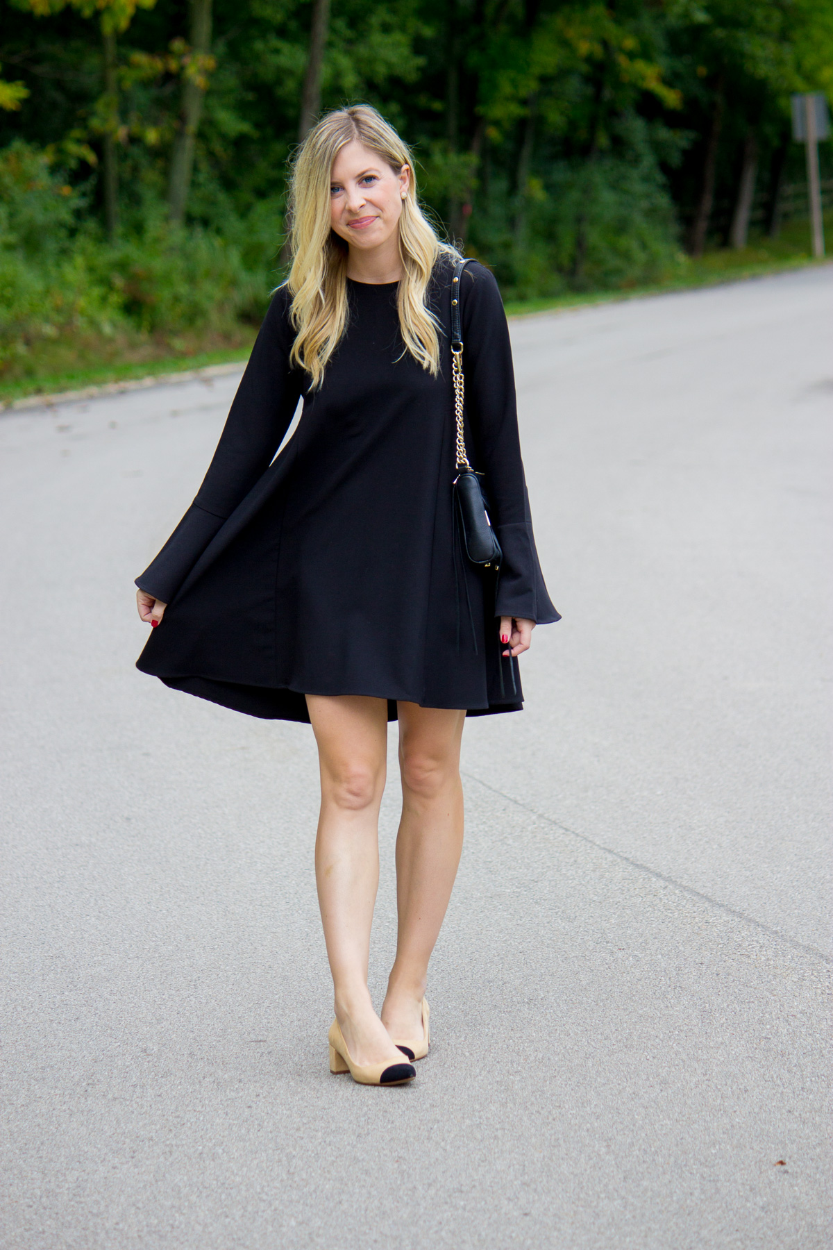Flutter Sleeve Little Black Dress