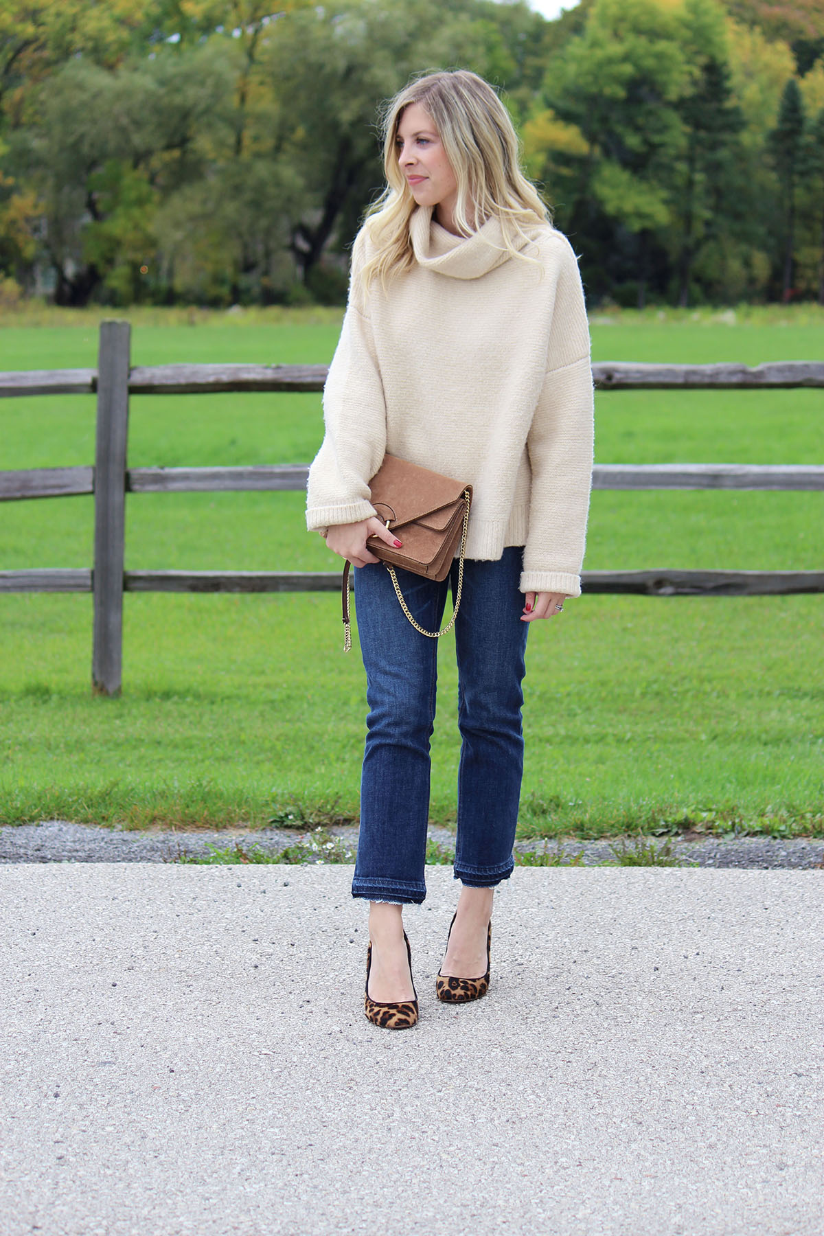 Oversized Turtleneck Sweater with Distressed Denim