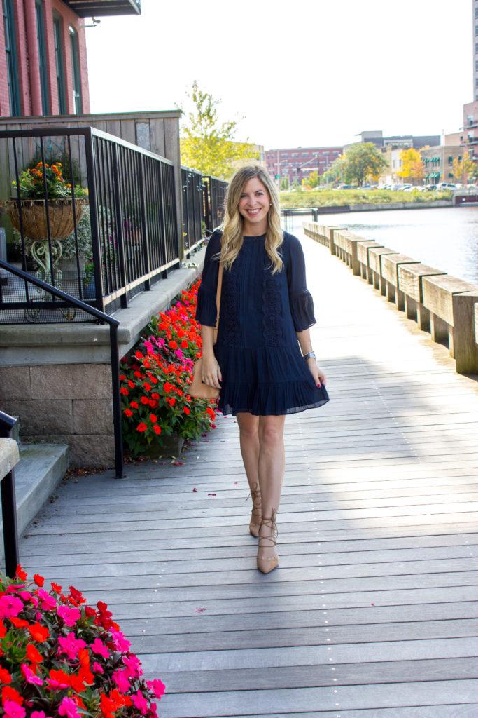 Loft Navy Swing Dress 5 Fifth Amp Rose
