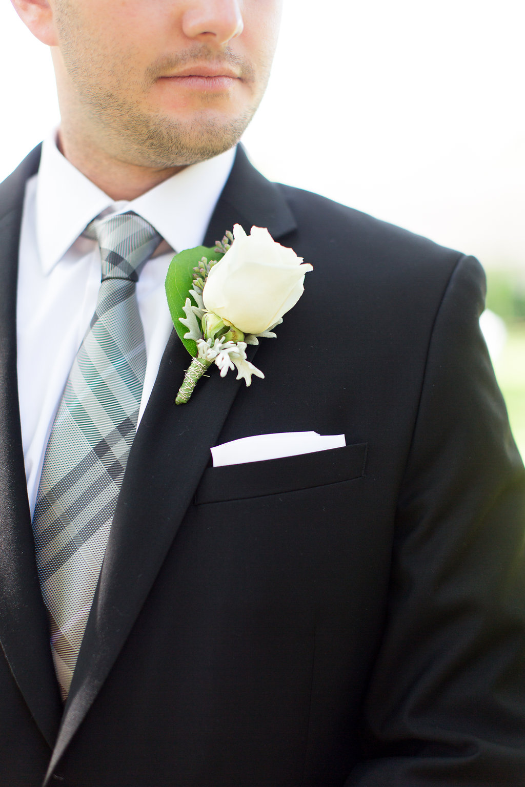 Groom Gray Plaid Wedding Tie