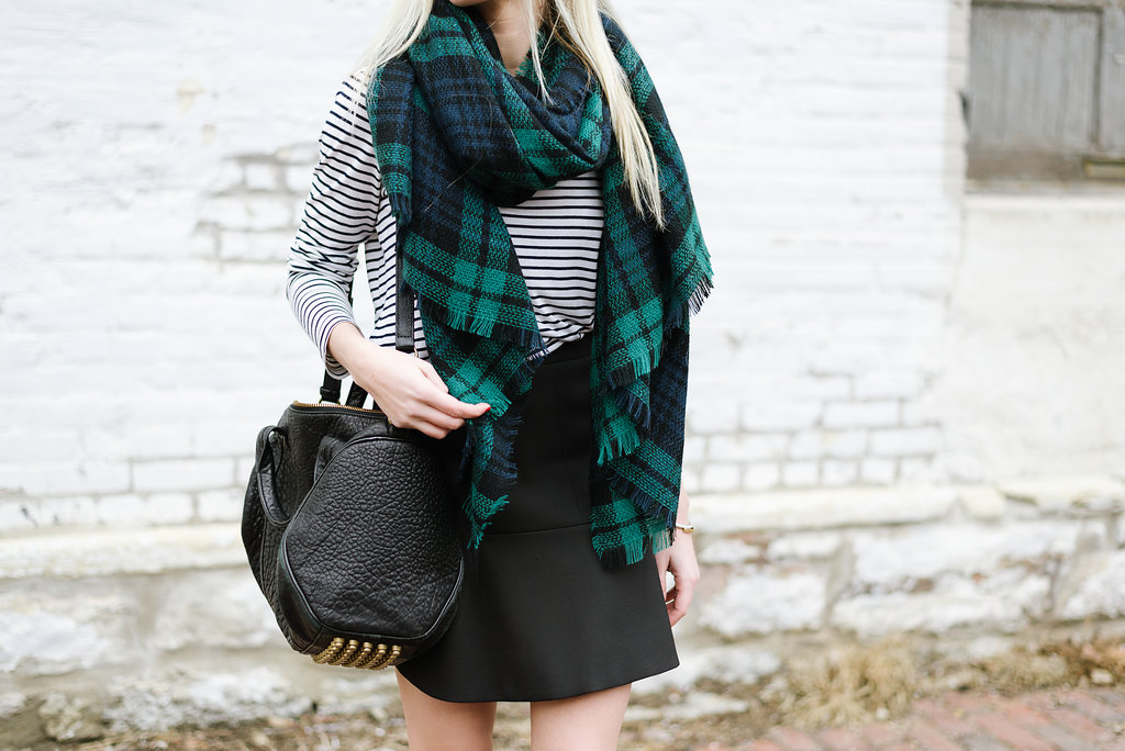 Plaid Scarf and Striped Tee