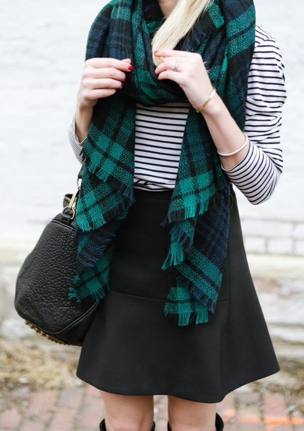 Plaid Scarf and a Striped Tee