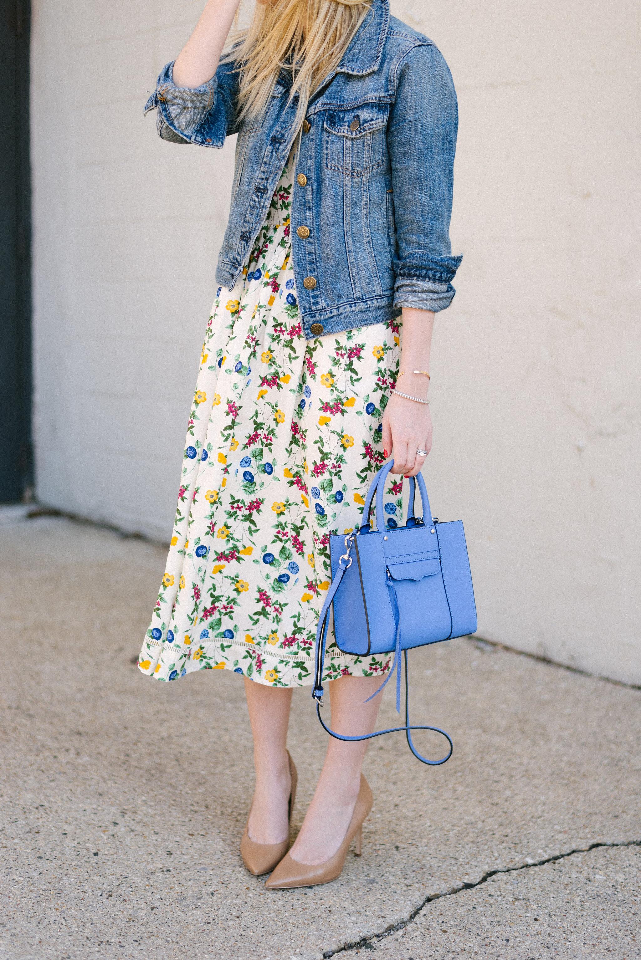 Jean Jacket & Floral Midi Dress