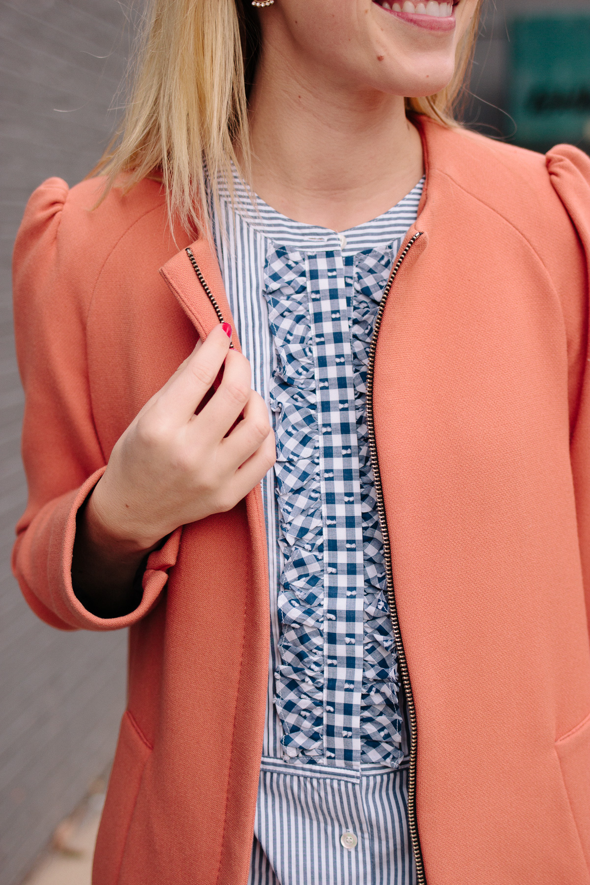 J.Crew Gingham and Stripe Top