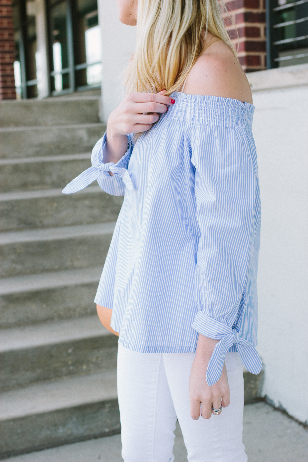 Striped Off-the-Shoulder Top with Tie Sleeves