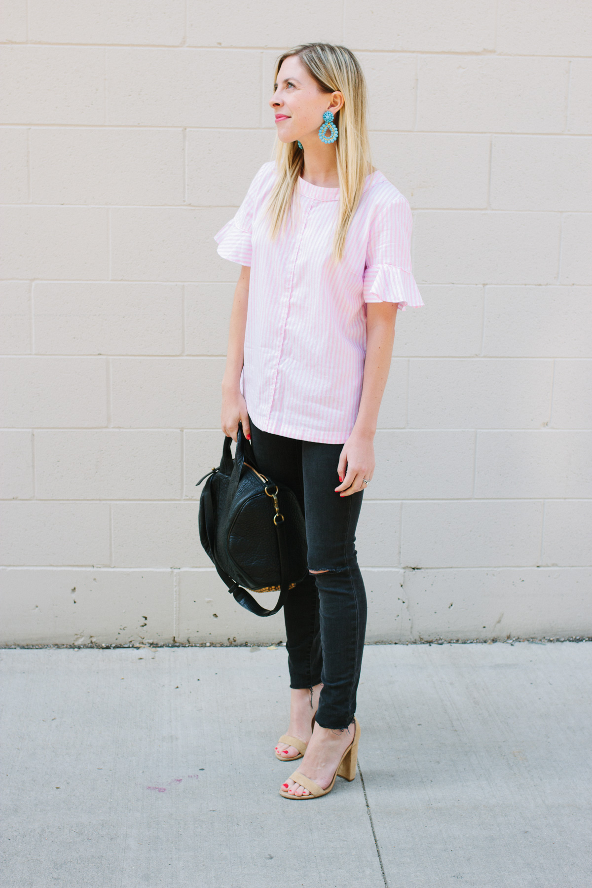 Stripe and Ruffle Top with Statement Earrings
