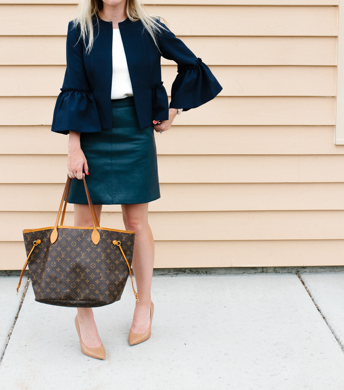 How to Style a Faux Leather Skirt for Work
