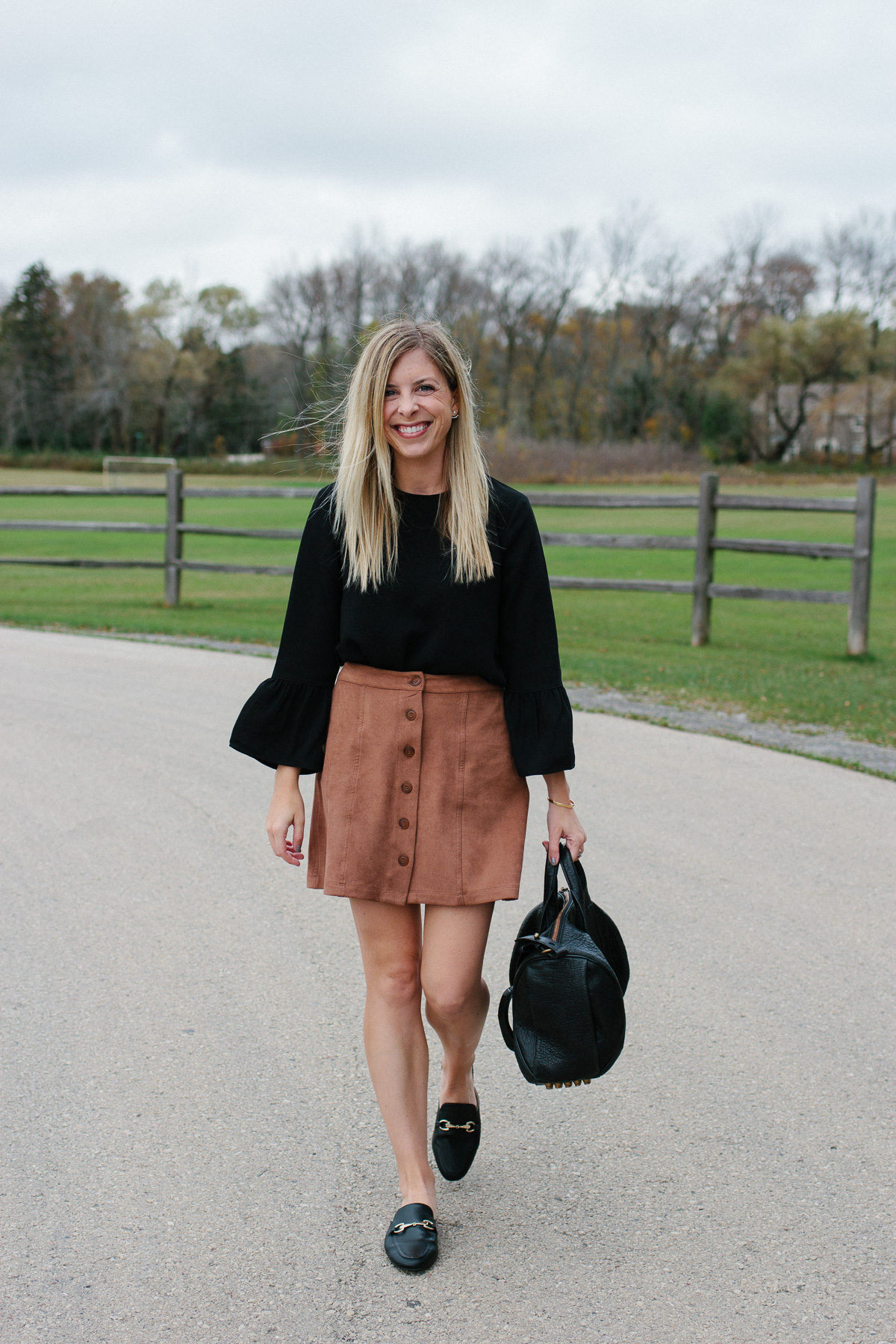 Suede Skirt and Black Loafers