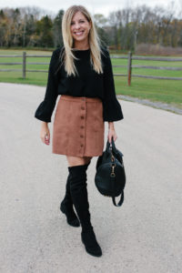 a1652ff54cd Suede Skirt and Black Over the Knee Boots-3 - Fifth   Rose