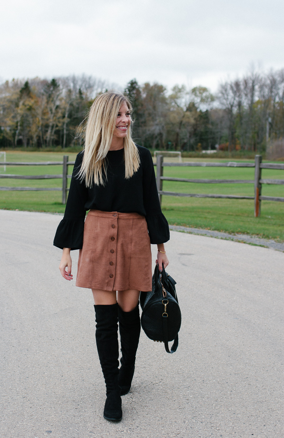Faux Suede Skirt and Over the Knee Boots