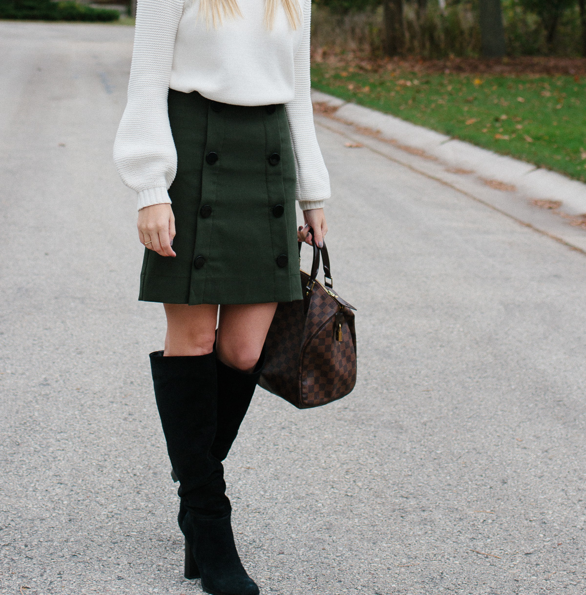 Button Down Skirt and Boots