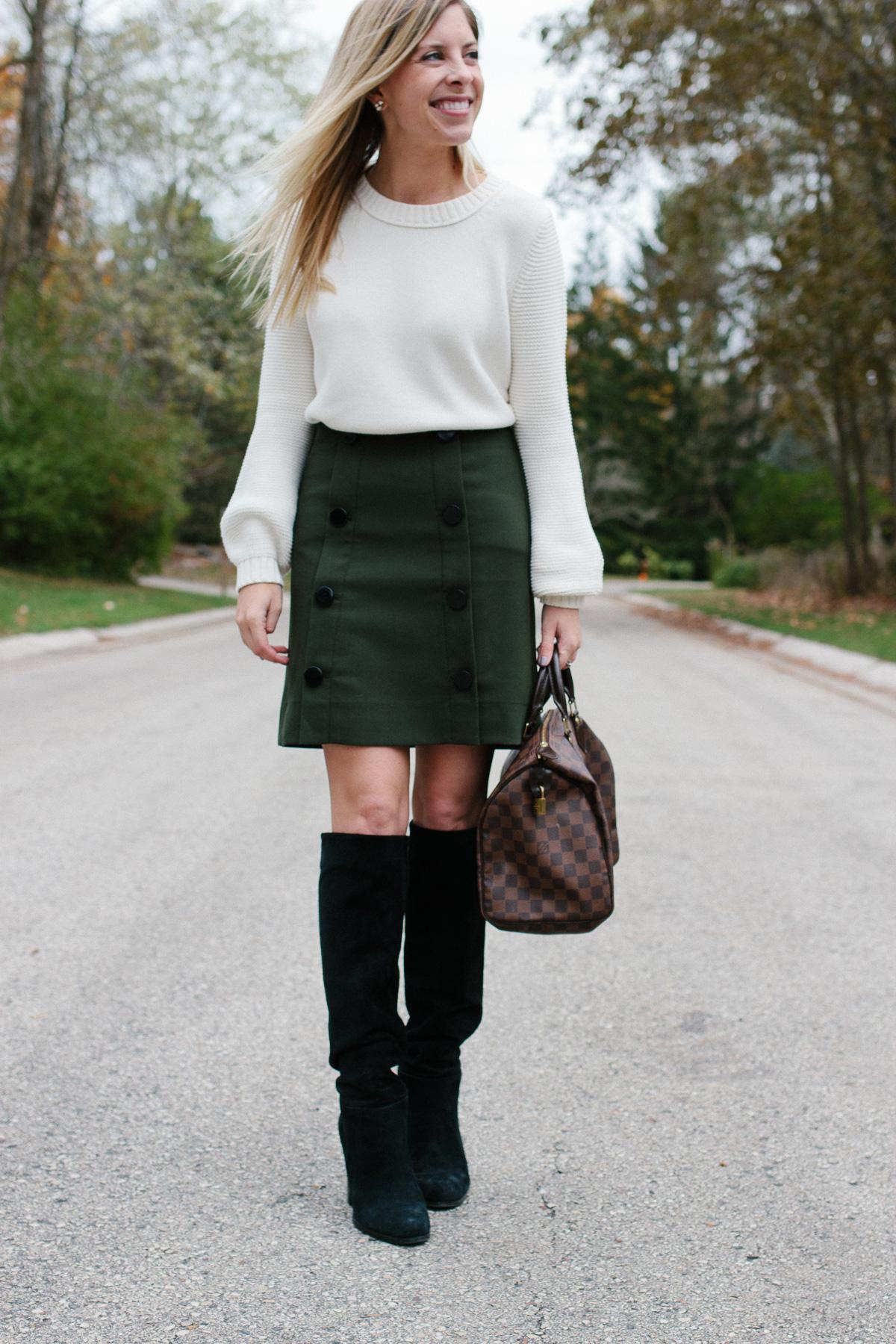 LOFT Button Down Skirt